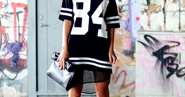 Varsity Shirt Dress. Swag. Dope Outfit. Sports Luxe. Urban Fashion. Urban Outfit.