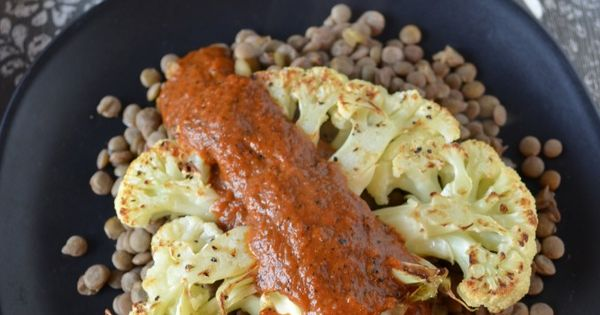 Cauliflower steaks, Red pepper sauce and Red peppers on Pinterest