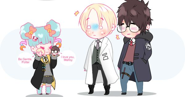 Drarry Chibi: Chibi Drarry And The Hufflepuff By Cremebunny On