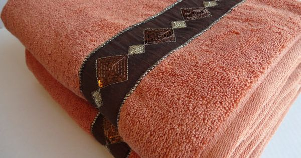orange pumpkin terracotta gold and brown bath towels orange towels  orange bathroom  hand towels
