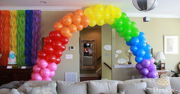 Diy rainbow balloon arch design waffle blog pinterest for How to make a rainbow arch