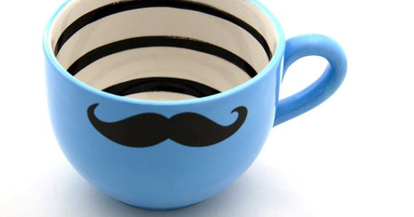 Large Moustache Mustache Mug in Turquoise Blue for Soup or Coffee by