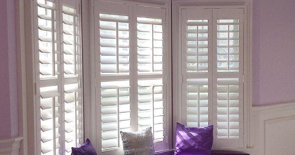 Purple Is The Color Of Royalty A Beautiful Custom Window Seat amp Hunter Douglas White Plantation