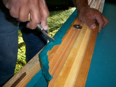 Removing Staples Holding The Old Felt In Place Pool Table