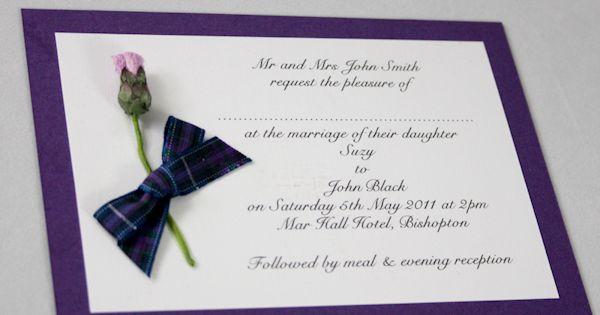 Tartan Thistle Wedding Invitation Pride Of Scotland