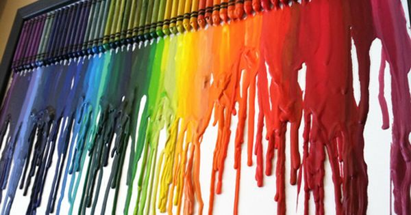 Craft Idea: Rainbow Melted Crayon Art