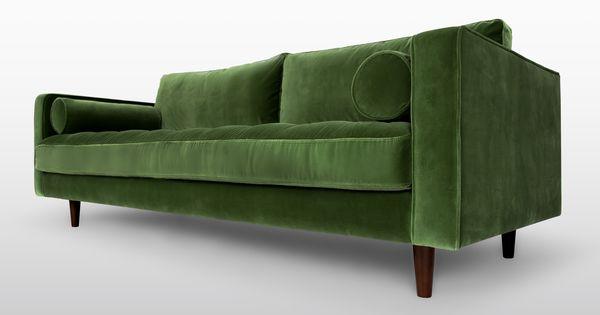 Green velvet mid century modern sofa upholstered sven for Skandinavische sofas