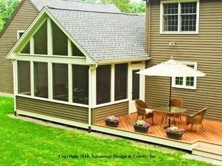 This Stunning Deck And Three Season Room Is Located In Byfield Ma And Features Low Maintenance Synthetic De Three Season Room Three Season Porch 3 Season Room