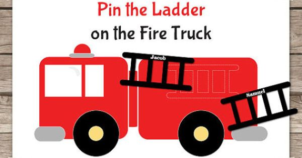 Instant Download Pin the Ladder on the Fire Truck by printmagic, $4.00