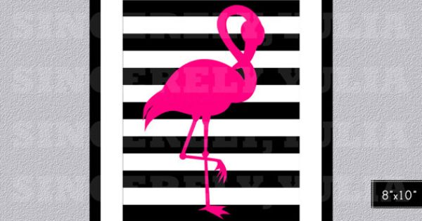 Pink Flamingo Black White Stripes Wall Art By
