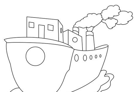 b is for boat coloring page