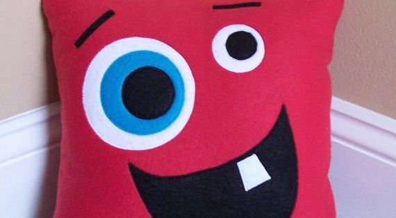 Red Monster/Silly Face Pillow from 3 Silly Monkeys on Etsy. 14x14 pillow