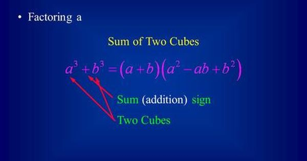 Factoring Sum And Difference Of Two Cubes Factoring A Sum Of Two Cubes Sum Addition Sign Two Cubes Sum Cube Factors