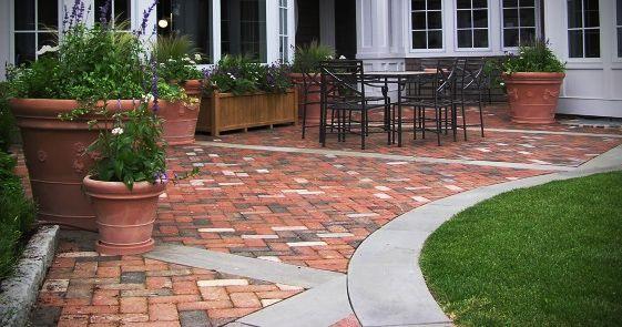 Brick Patio Design Idea With Concrete Borders Could