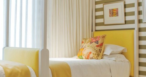 striped wall and yellow. Cute kids beds
