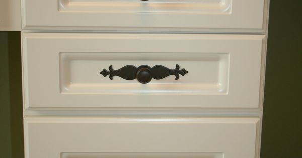 Top Knobs cabinet hardware with decorative backplate on office ...