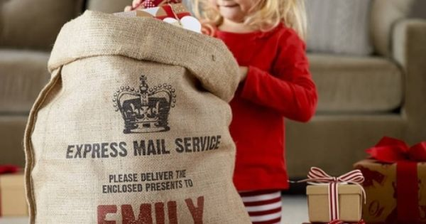 Personalized Christmas Sack, so children can dig their gifts out of a