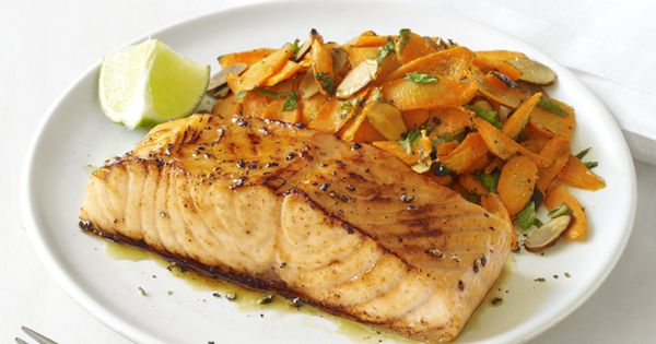 Quick and easy: Glazed Salmon With Spiced Carrots recipe from Food Network