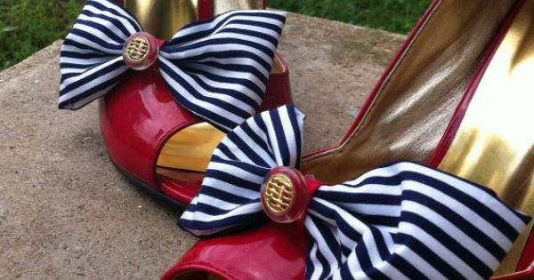 Nautical Navy Blue and White Stripes Bow Shoe Clips