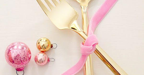 Life is Beautiful pink gold tableware hmmm... the idea of tying the