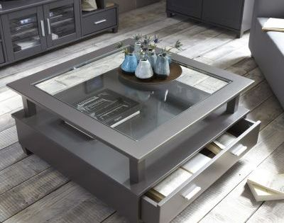 Table Basse Slate Grey 2 Grands Tiroirs Double Plateau