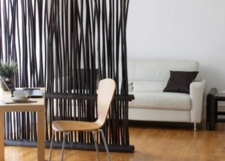 Dark bamboo room divider partial wall screen would be a good solution to a floating tv in an - Partial room divider ...