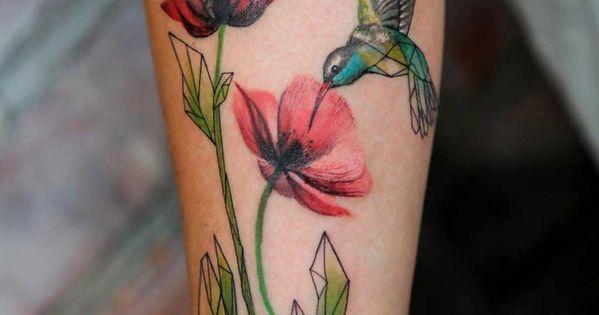 flowers poppy and hummingbird tattoo. I love the origami ... - photo#24