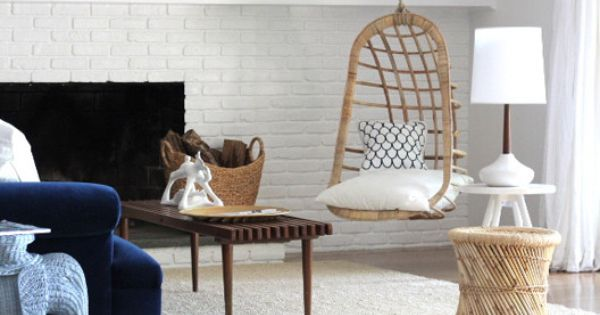 ❦ hanging chairs and lounges. Hanging Rattan Chair from Emily Henderson >>
