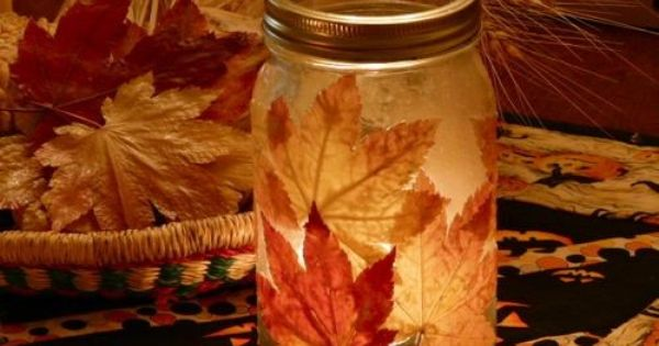 DIY Autumn mason jar candle holder. Found at gingerbreadsnowflakes.com/node/102