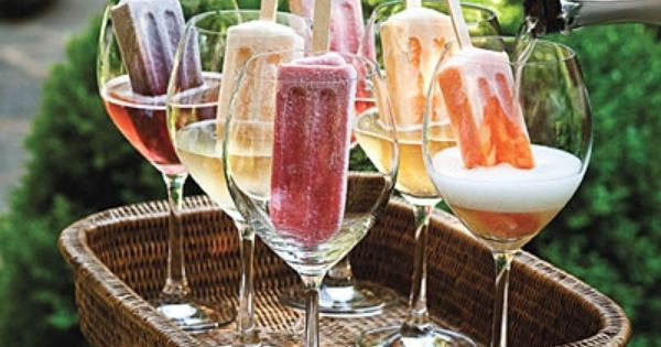 Adult Popsicles. Fancy up frozen pops with a splash of sparkling white