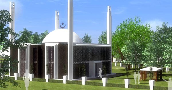 Ahmadiyya green mosque in holland mosques pinterest for Architecture islamique moderne