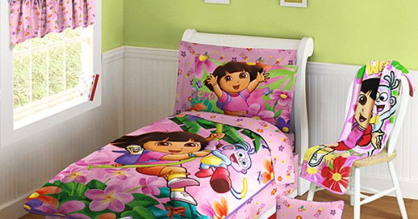 Dora bedspread with green walls ideas for amaya for Dora themed bedroom designs