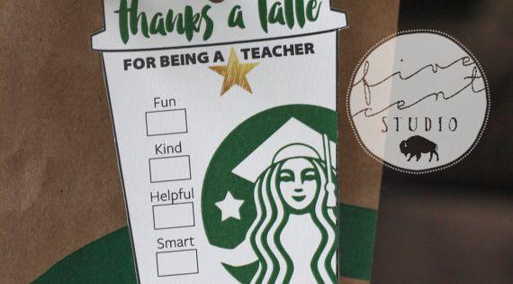 Star Teacher End Of The School Year Appreciation Starbucks
