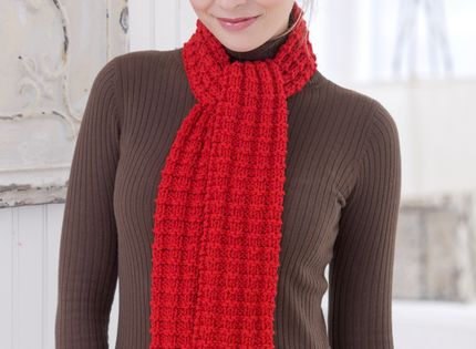 Heartwarming Knit Scarf Free Pattern from Red Heart Yarns ...