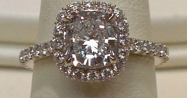 6.5 cts. Cushion diamond halo setting ring platinum