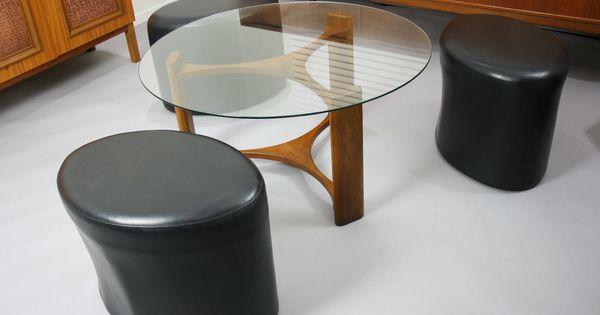 mid century th brown coffee table stools retro vintage