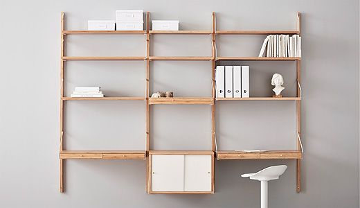 Choose One Of The Suggested Combinations Of Wall Shelves And Cabinet Units Or Assemble Your Own Solution Svalnas Is A Hig Shelving Shelves Modular Bookshelves