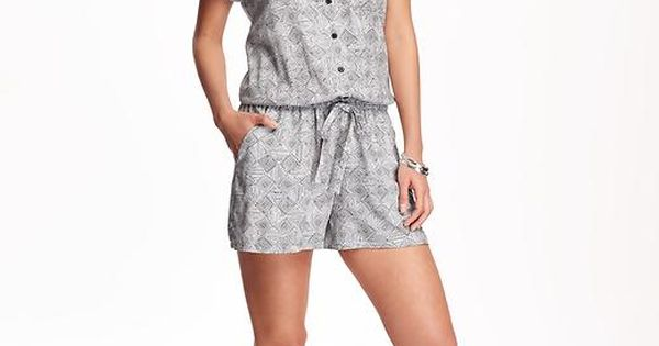 Printed Button-Front Romper for Women | Old Navy