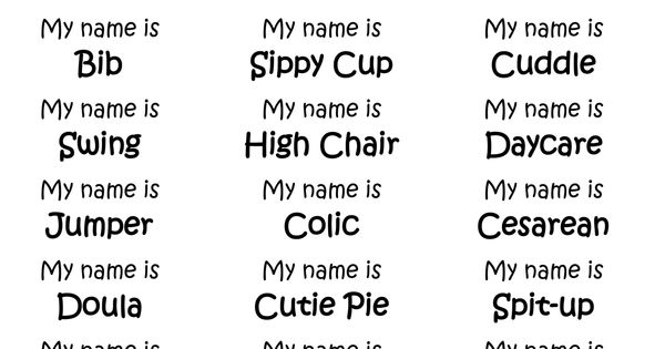 Baby Related Name Tags For Baby Shower Game Guests Get Their Diy