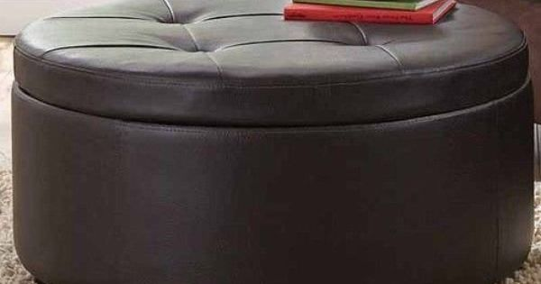 Leather Large Footstool Round Storage Coffee Table Ottoman