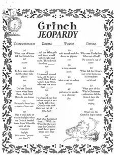 Grinch Jeopardy Activity From Konicki Right Click To Save Whoville Christmas Grinch Christmas Decorations Christmas Trivia