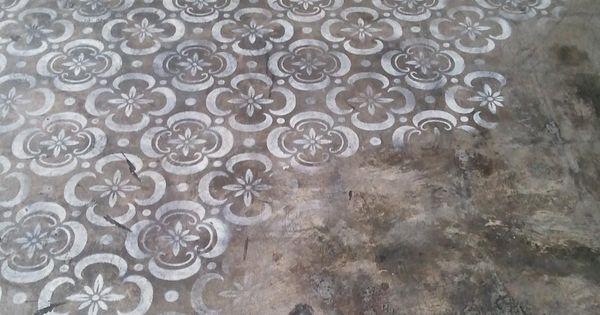 .concrete floor stencilling 무늬목 붙이기  Concrete floors  Pinterest ...