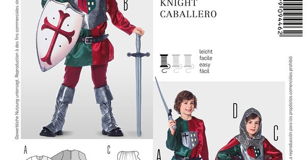 Knight chevalier ridder costume simplicity - Cuisiner l omble chevalier ...