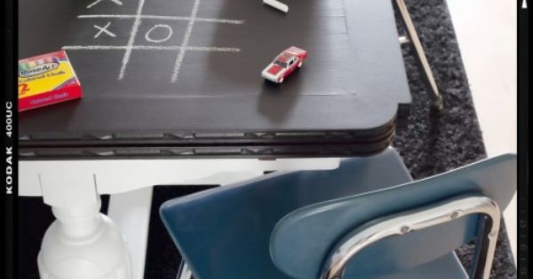 Chalkboard table. Buy plywood and then just paint it with chalkboard paint.