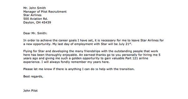 sample of airline pilot resignation letter    resumesdesign com  sample