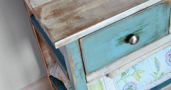 Multi Color distressed wood table DIY