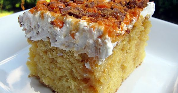 I love Poke Cakes - BUTTERFINGER CAKE..... INGREDIENTS: yellow box cake mix