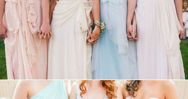 pastel wedding ideas - mismatch bridesmaid dresses - different color similar style