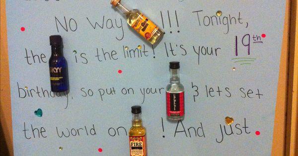 Mad libs birthday card : mini alcohol bottles.