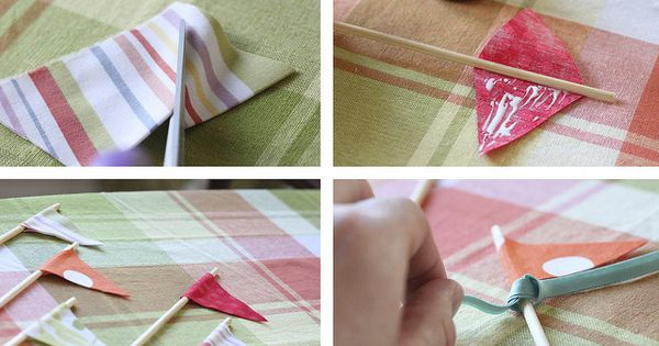 Fabric pennants for cake decoration.